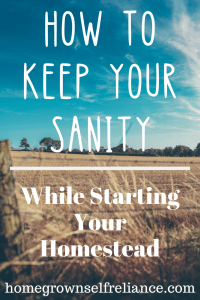 Homesteading can be so challenging! This post gives lots of insights on how to keep your sanity while you start your very own homestead. #homesteading #selfreliance #homesteadgoals