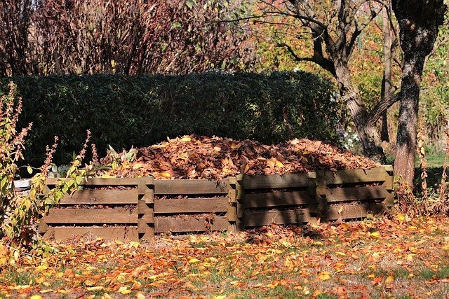 Compost pile in pallets