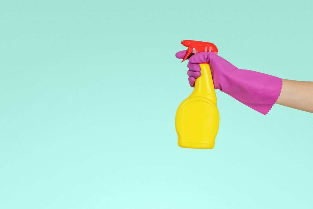 Yellow and red spray bottle for DIY cleaners