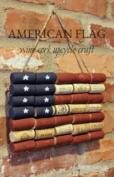 Old fashioned 4th of July American Flag wall hanging made out of wine corks