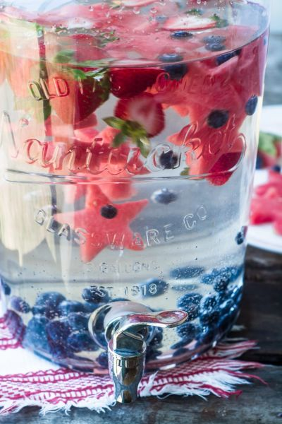 This refreshing infused water is perfect for an old fashioned 4th of July party