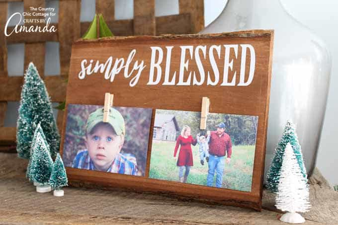 "Rustic wood frame with ""Simply Blessed"""