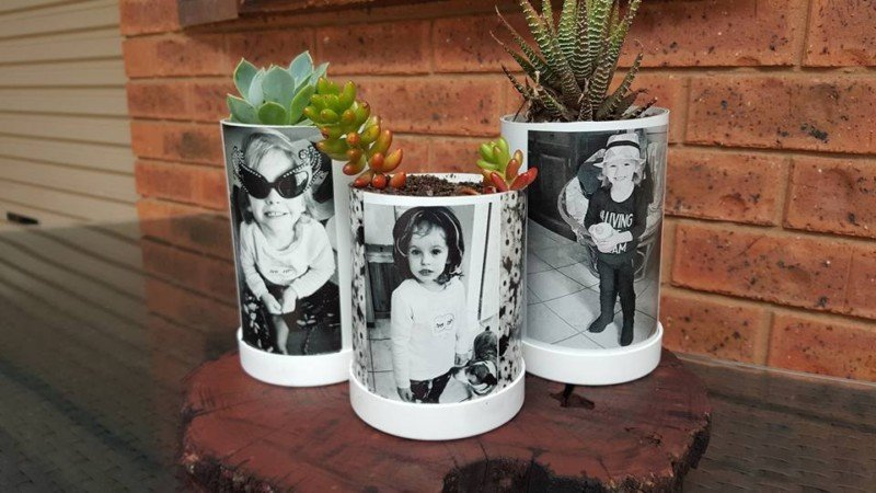 PVC pipe photo planters for a DIY Christmas gift